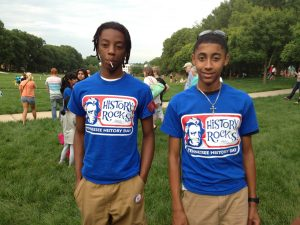 2 boys in Tennessee History Day t-shirts, for Tennessee history, Tennessee politics, culture, music and more, see the Tennessee Historical Society.