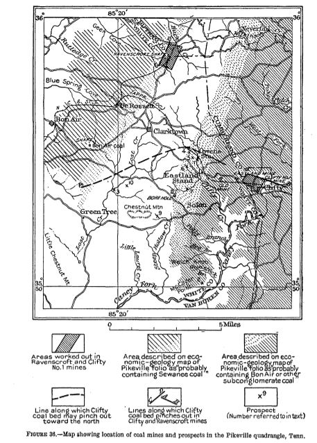 Map of with Ravenscroft Coal Mine